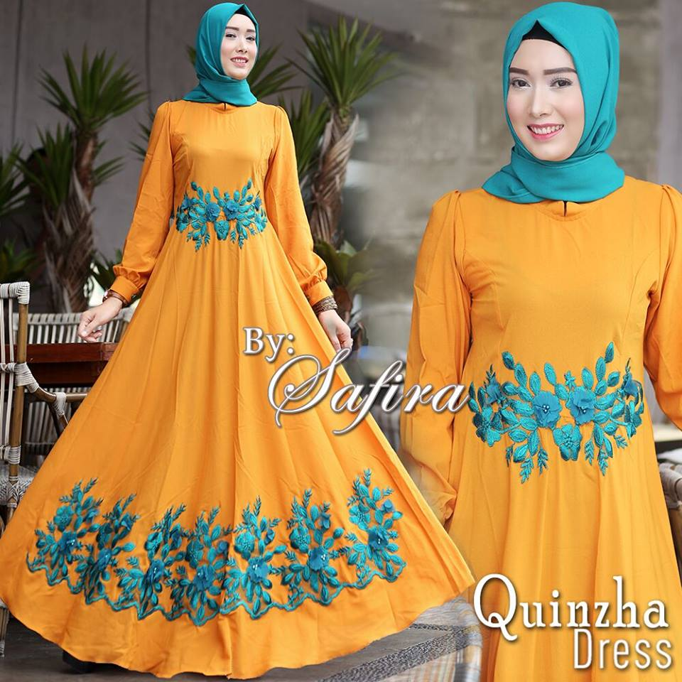 Baju Muslim Terbaru Quinzha Dress Set By Safira